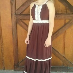 Boho Prairie Sangria Maxi Dress Floor Length🌻🌻